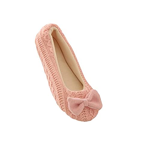 Kolylong Women Ladies Home Floor Soft Indoor Slippers Cotton Bowknot Warm Yoga Shoes (UK2-3, Pink)