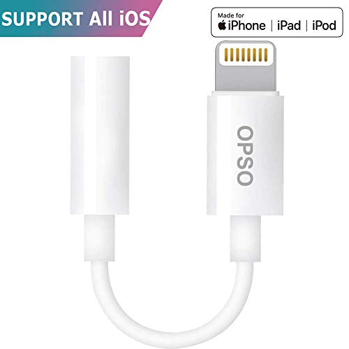 iPhone Kopfhörer Adapter [Apple MFi Zertifiziert] für alle iOS-System 3.5mm OPSO Kopfhörer Adapter for Apple iPhone 8/8PLUS/7/7plus iPhone X,iPad,iPod Connector Kopfhöreranschluss Adapter-Weiß