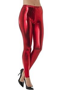 Smiffys-48102M Mallas metálicas Disco años 80, Color Rojo, M-EU Tamaño 40-42 (Smiffy