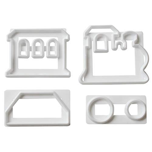 DIY 4 Stücke Zuckerfertigkeit Zug Set Kunststoff Fondant Ausstecher Kuchenform für Kuchen Dekorieren Tools (Tech-zug)