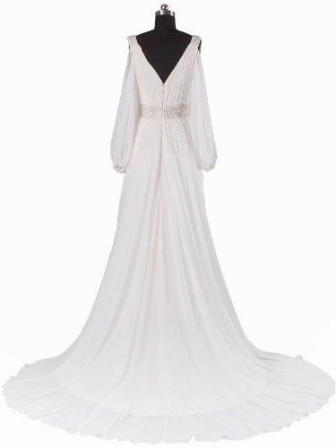 Lemandy robe de mariée A-line mousseline cristal traîne moyenne manches longues Blanc