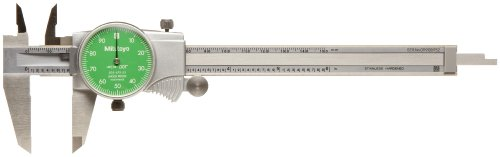 Mitutoyo 505-742-53 Dial Calipers, Inch, Green Face, for Inside, Outside, Depth and Step Measurements, Stainless Steel, 0-6 Range, +/-0.001 Accuracy, 0.001 Resolution, 40mm Jaw Depth by Mitutoyo