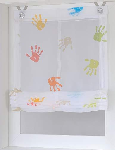 Raffrollo/Ösenrollo Kinder Hände weiss/bunt 45/60/80/100 x 130 cm ohne bohren (ca. 80*130 cm)