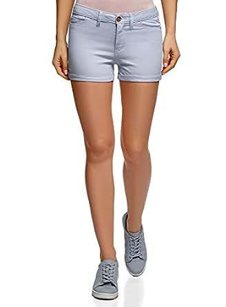 oodji Ultra Damen Stretch Jeansshorts mit Aufschlägen, Blau, Herstellergröße DE 32 / EU 25 / XXS