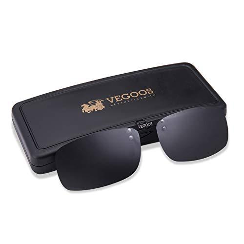 VEGOOS Sonnenbrille Aufsatz, Clip für Sonnenbrille Polarisiert Clip auf Sonnenbrille für Frauen und Männer 3027MBL