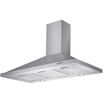 Ciarra hotte de cuisine d corative inox 90cm 550m3 h - Hotte de cuisine avec filtre a charbon ...
