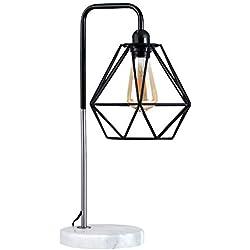 Lámpara de mesa industrial - Con innovadora pantalla de diseño de jaula, base de mármol y sabor vintage
