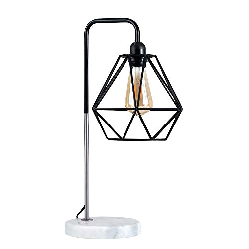 MiniSun Lampe de Table à Poser'Talisman'. Aspect Rétro - Design Classique en Combinaison de Noir & Nickel avec Pied en Marbre Blanche & Gris avec Abat Jour Géométrique en Noir