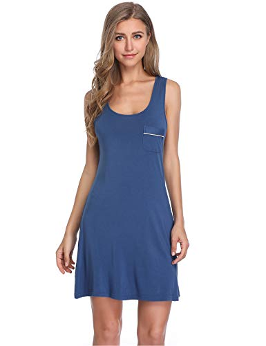Nachthemd Schlafen (Lusofie Damen Sommer Nachthemd Ärmellose Nachtwäsche Kurzes Nachthemden Racerback Nachtkleid (700 Blau, L))