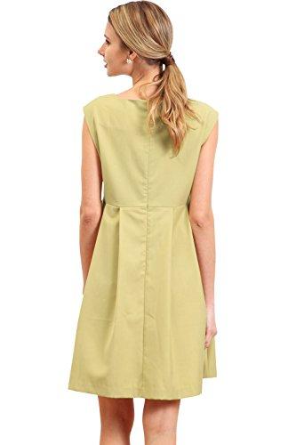 SO5013 Robe trapèze de grossesse et allaitement sans manches yellow