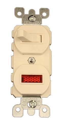 Leviton 5226-T 15 Amp, 120 Volt, Duplex Style Single-Pole, Neon Pilot AC Combination Switch, Commercial Grade, Light Almond by Leviton