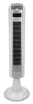 SLIM Tower Fan – Remote Control - 3 fan speed setting - Static & Oscillating Cooling Electric Fan – Home / Office – Full Size 890 mm Floor Mount - High Quality Model - High Power 40 watt Version - ULTRA COOL White & Grey Finish