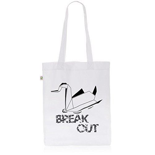 style3 Swan - Break Out Biobaumwolle Beutel Jutebeutel Tasche Tote Bag, Farbe:Weiß