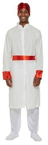 Herren Bollywood Schauspieler Tänzer International Indian Kostüm Kleid Outfit - Weiß, Standard (Bollywood Kostüme Herren)