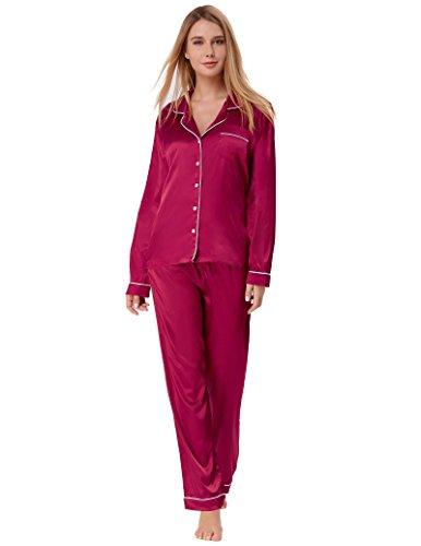 Zexxxy Plus Size Pyjama für Frauen Lange Taste Nachtwäsche Wein Größe ()