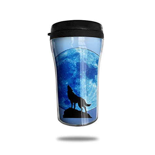 Wolf Howl and Blue Moon 8.45oz Coffee Mugs Birthday Gifts Insulated Tea Cup Leakproof Blue Moon Coffee