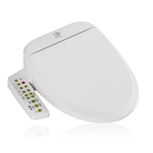Wc-sitz-runde Bidet (KOYIDA H01 Elongated Intelligent Shower Bidet Wash Toilet Seat with Heated Seated, LED Light and Warm Air Dryer,Cotton White)
