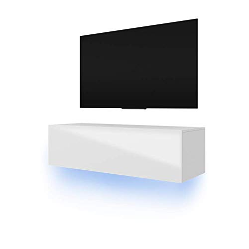 Lana - Meuble TV suspendu / Table Basse TV / Banc TV de Salon (140 cm, Blanc mat / Blanc Brillant avec LED bleue)
