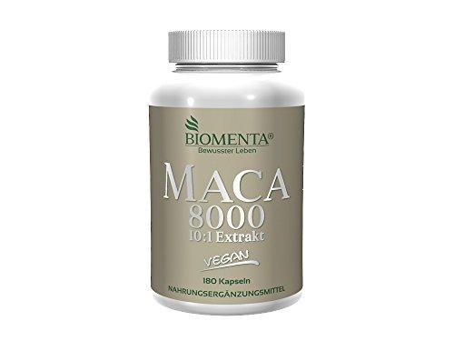 BIOMENTA MACA HOCHDOSIERT 8000 | Pures 10:1 Maca Extrakt aus Maca Pulver | 180 Maca Kapseln | 3 Monatskur | VEGAN | Für vitale Frauen & Männer