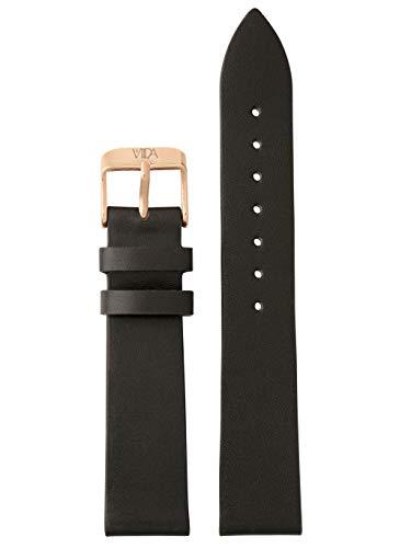 laVIIDA Uhrband LB-SVI2001R Ersatzband Uhrenarmband Leder 18 mm Schwarz-Rosé