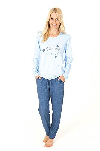 Langer Damen Pyjama Schlafanzug auch ideal als Loungewear oder Hausanzug - 161 201 90 840 Hellblau
