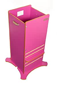Little Helper Multi FunPod Toddler Kitchen Safety Stand for 1 - 6 Years (Dark Pink with Natural Edging)