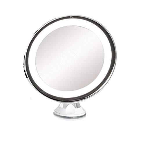 Loupe pour la lecture Tageslicht LED 10X Vergrößerungs Schminkspiegel - Tragbarer Und Beleuchteter Reise-Schminkspiegel - Einstellbare 360-Grad-Drehung - Wirklich Natürliche Mascara