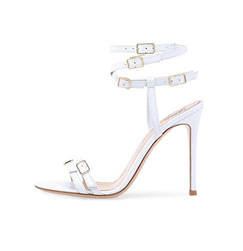 GHFJDO Damen Schuhe Glitter Stiletto Sandalen, Riemchen Party High Heels, Open Toe Sandaletten, Größe,White,41EU Glitter Stiletto