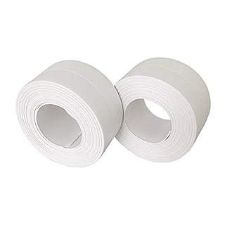 Self Adhesive Caulk Strip - Waterproof Sealant Caulking Tape Trim Sealer for Bathtub, Sink, Toilet etc, White, 2 Pack