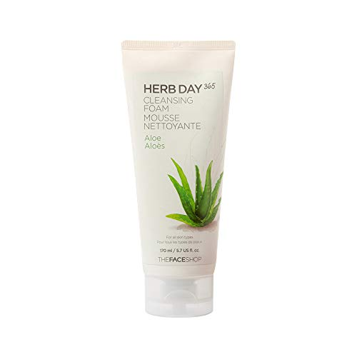 The Face Shop Herb Day 365 Cleansing Foam, Aloe, hydrating, moisturizing and gentle face wash|SLS and Paraben free,170ml