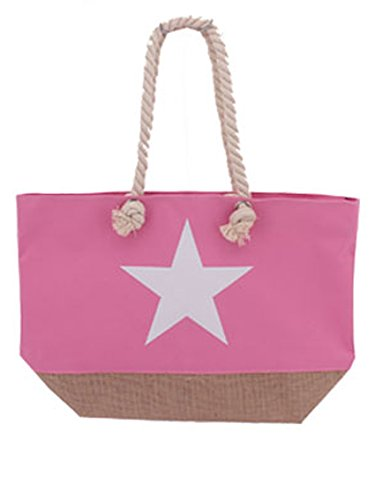 Coole Strandtasche ~ Stern Design ~ Tasche Beach Bag Shopper Umhängetasche rosa