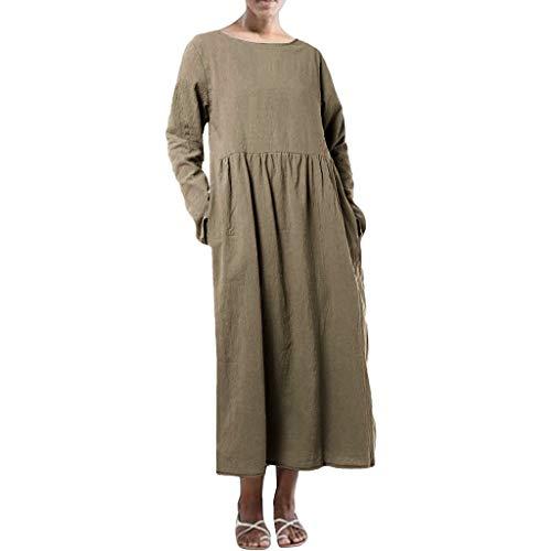 Mode Frauen Normallack Langes Hülsen Oansatz Falten Beiläufiges Kleid o- Langarm Solides Plisseekleid -