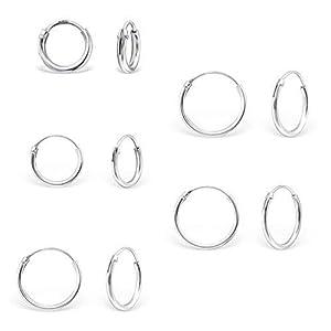 DTPsilver – Damen – 5 Paare Ohrringe 925 Sterling Silber – Dicke 1.2 mm – Durchmesser 8, 10, 12, 14, 16 mm