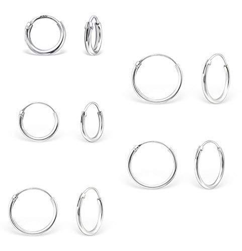 DTPsilver - Damen - Creolen - Ohrringe 925 Sterling Silber Set Paare 5 - Dicke 1.2 mm - Durchmesser 8, 10, 12, 14, 16 mm
