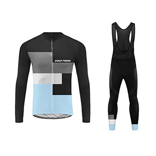 Uglyfrog 2019 Winter Neu Herren Fahrradbekleidung Set Radtrikot Langarm Winddicht Herren Thermische Fleece mit 3D Polster Hosen RongBL02