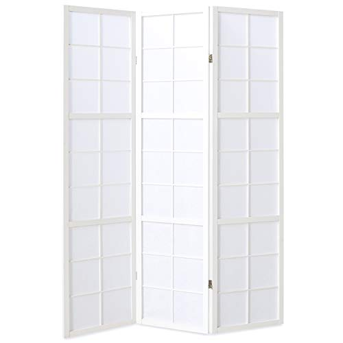Homestyle4u 437, Paravent Raumteiler 3 teilig, Holz Weiss, Reispapier Weiß, Höhe 175 cm