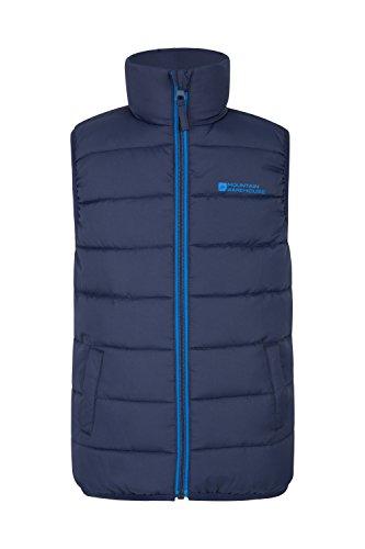Mountain Warehouse Rocko Steppweste für Kinder - Wasserbeständiger Regenmantel, Steppweste aus Mikrofaser mit Zwei Fronttaschen - Idealer Wärmer für Jungen und Mädchen Marineblau 164 (13 Jahre)
