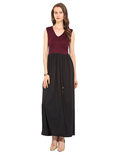 Maroon & Black Polyester Maxi Dress X-Large  available at amazon for Rs.250