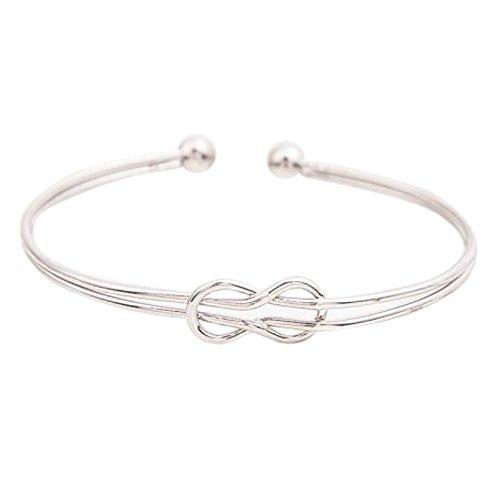 Sunnywill Mode Geometrische Manschette Charme Offen Hohlen Armband Armreif Schmuck für Frauen Mädchen Damen (Silber) (Manschetten-armbänder, Mädchen)