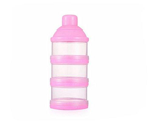 Kanggest Multicolor Botella de 3 Capas para Bebé Comida Caja de Leche en Polvo Caja Transparente Portátil para Leche al Aire Libre para Bebés Leche en Polvo Dosificador Apilable Gran Capacidad (Rosado)