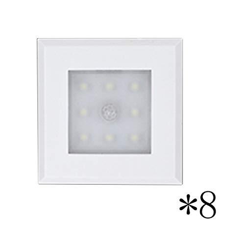 LED-Schrankbeleuchtung, Wandlampe Scheinwerfer Lesen Kleiderschrank Schrank Weinkühler Schuhkarton Schublade Kabellos Induktion Badezimmer (Farbe : Weiß-Acht)