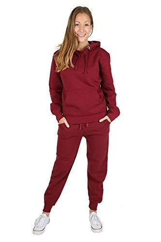 599ad64b78ac36 Parsa Fashions, tuta sportiva da donna, 2 pezzi, composta da felpa con  cappuccio e pantaloni a gamba intera, tinta unita