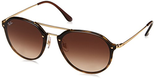 Ray-Ban Unisex-Erwachsene Sonnenbrille Blaze Double Bridge, Light Havana/Browngradient, 62