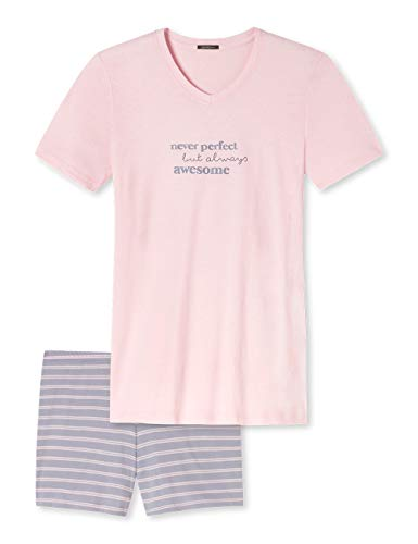 Schiesser Damen Kurz Zweiteiliger Schlafanzug, Rosa (Rose 506), (Herstellergröße: 44)