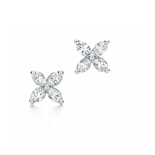 0,40Carat Diamant Marquise Vis Arrière Boucles d'oreilles clous en or blanc 18K