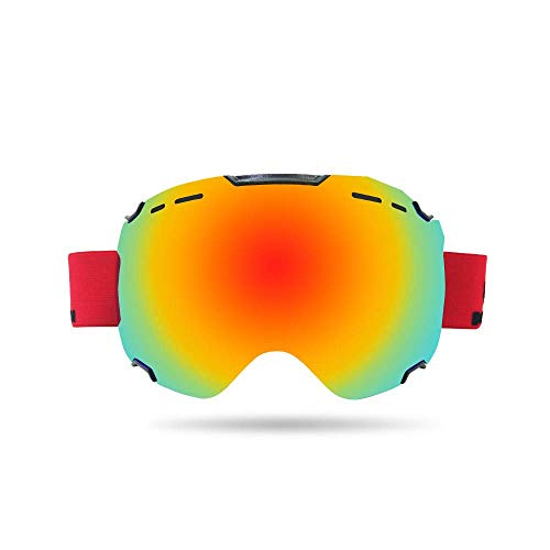 Chengzuoqing Skibrille Snowboardbrillen - Skibrillen Anti-Fog-Skibrillen Schneebrillen Outdoor-Kletterwindschutz Snowboarden, Skifahren, Skaten (Farbe : Rot)