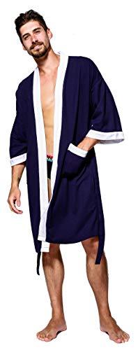 SEMIR Herren Waffelpique Bademantel Morgenmantel Nachtwäsche Kimono Saunamantel mit Taschen und Bindegürtel aus Baumwolle Marine L