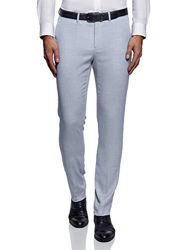 oodji Ultra Hombre Pantalones Clásicos con Pinzas, Azul, ES 42 (M)
