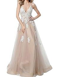 8cfad4fed555 Charmant Damen Romantisch Spitze Abendkleider Ballkleider Festlichkleider Promkleider  Lang Tuell A-Linie Rock