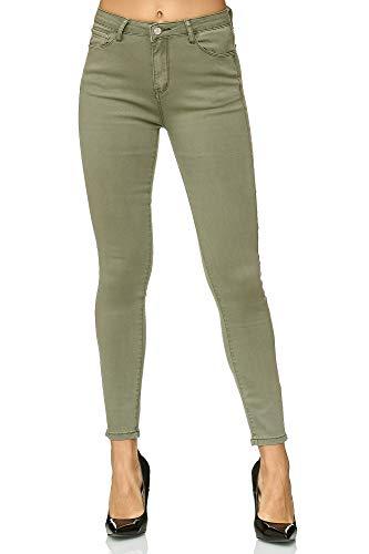 Elara Damen Stretch Hose | Skinny Röhrenjeans | Elastischer Bund | Slim Fit | Chunkyrayan E776-4 Green 38